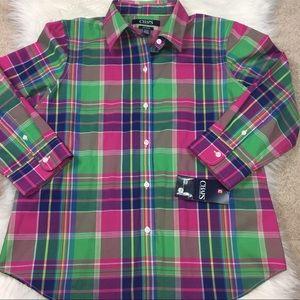 Chaps plaid no iron shirt petite medium